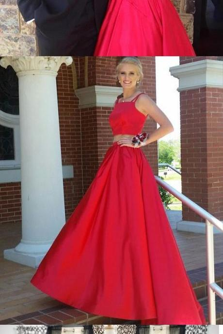 Simple Two Piece Prom Dress, A Line Spaghetti Straps Party Dress, Long Red Satin Evening Dress