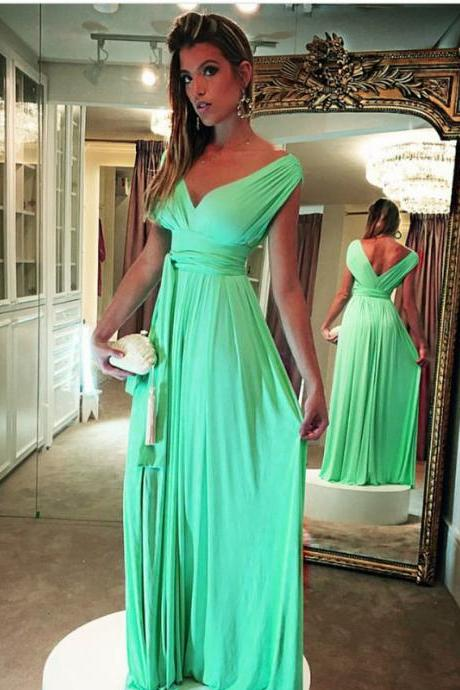 v neck prom dress,mint green bridesmaid dress,long evening gowns,vestidos de festa