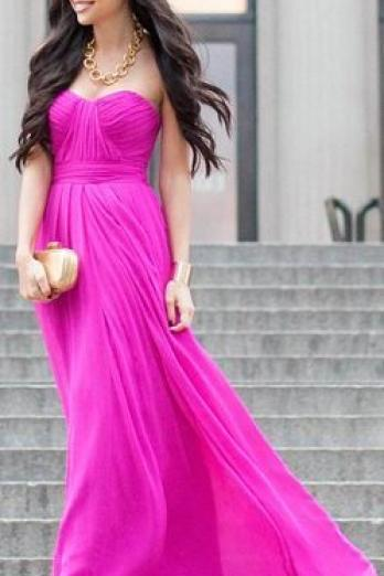 Prom Dresses,Hot Pink Prom Dress,Modest Prom Gown,Cheap Prom Gowns,Simple Evening Dress,Princess Evening Gowns,Party Gowns