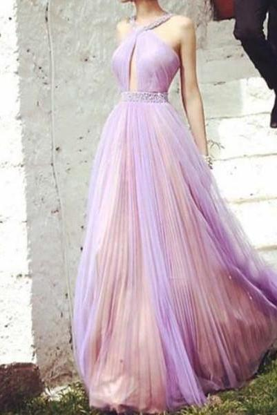 Lilac Prom Dresses,Pink Evening Gowns,Sexy Formal Dresses,Beaded Prom Dresses,Long Evening Gown,Tulle Evening Dress,Prom Dresses