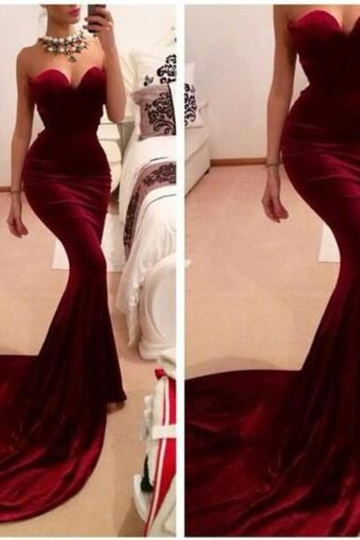 Prom Dresses,Mermaid Prom Dress,Sexy Prom Dress,Strapless Prom Dresses,Formal Gown,Modest Evening Gowns,Wine Red Party Dress,Mermaid Prom Gown For Teens