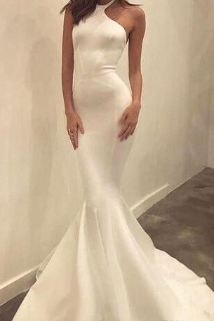 White Halter Mermaid Long Prom Dress, Evening Dress