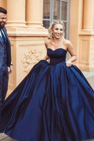 Navy Blue Ball Gown Prom Dresses, Long Sweetheart Satin Prom Dress,Sleeveless Lace Up Back Arabic Evening Party Gowns Plus Size
