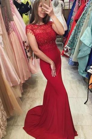 Red Sheer Beaded Mermaid Long Prom Dress, Evening Dress with Cap Sleeves
