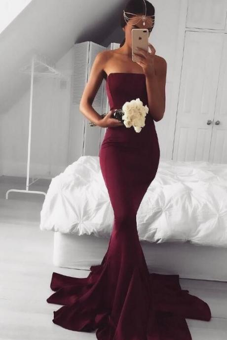 Burgundy Strapless Straight-Across Floor Length Mermaid Prom Dress Featuring Sweep Train, Bridesmaid Dress
