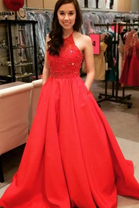 Red Prom Dress,Halter Neckline Red Party Dress,Beaded Red Evening Dress