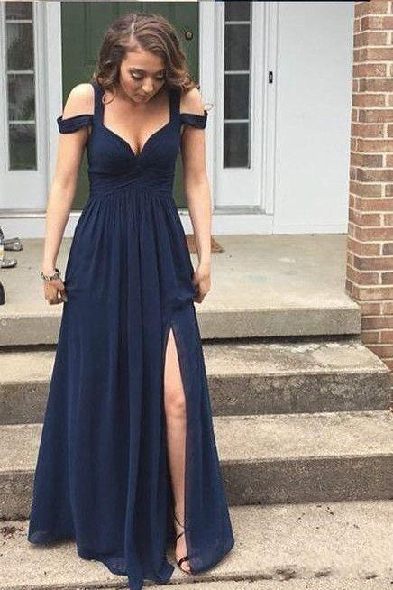 Split Side Navy Blue Party Dress Off The Shoulder Prom Gowns Long Simple Style Chiffon A Line Floor Length