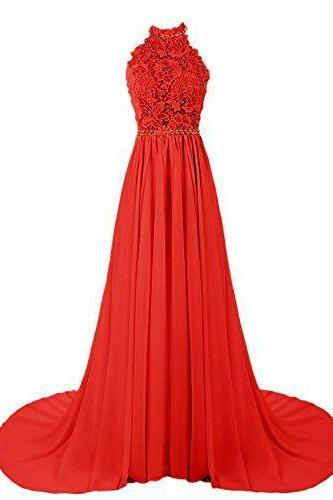 Custom Made Red Floral Applique Lace High Neck Chiffon Prom Dress