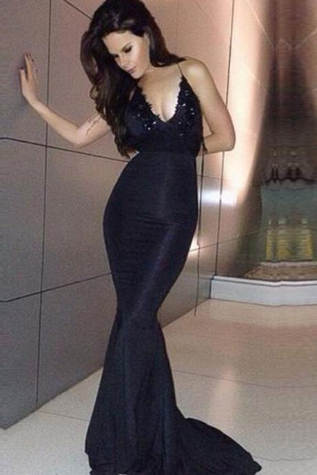 Black V Neck Backless Satin Mermaid Evening Dress, Formal Gown Lace Appliques Bodice