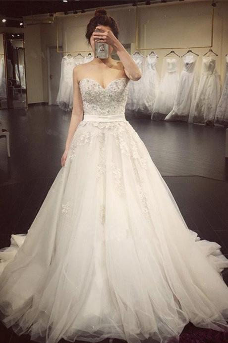 A Line Lace Crystal Wedding Gowns,A line Wedding Dresses,2018 Luxurious Long Custom Wedding Gowns,Affordable Bridal Dresses,Plus Size Wedding Dress,Wedding Dresses