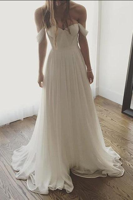 Off-the-Shoulder Chiffon A-line Wedding Dress, Beach Wedding Dress