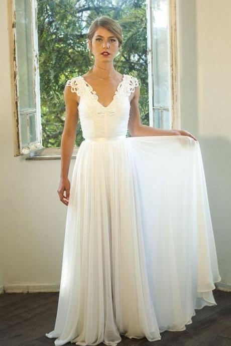 V-Neck Cap-Sleeves Ruched Lace Appliqués A-line Chiffon Wedding Dress