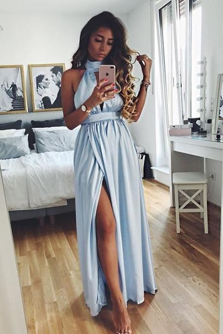 Sexy Light Blue High Neck Prom Dress,Slit Side Evening Dress