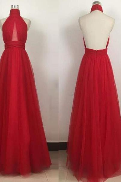 Red Backless Halter Long Prom Dress,High Neck Tulle Evening Gowns,Formal Dress