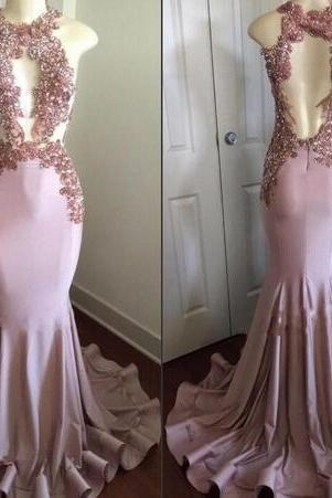 Sheer Bodice Fit to Flare Prom Dress with Beaded Applqiues