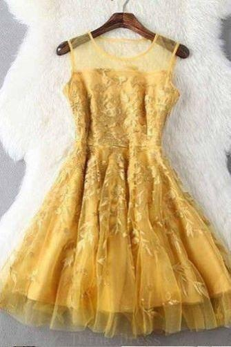 Fashion Gold Jewel A Line Sleeveless with Appliques Short Prom Homecoming Dress