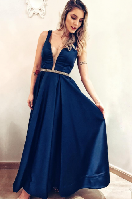 Sleeveless Prom Dress, Sexy Prom Dresses, A Line Prom Dress