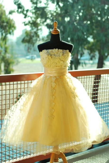 Handmade Cute Yellow Ball Gown Prom Dress with Applique, Cute Prom Dresses, Ball Gown Formal Dresses, Evening Dresses