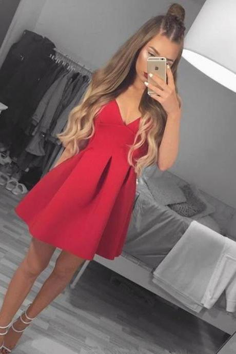 Simple A-Line V-Neck Sleeveless Red Satin Short Homecoming Dress With Pleats