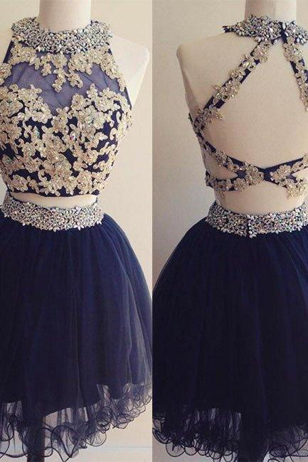 Two Pieces Homecoming Dresses,A-line Homecoming Dresses,Applique Homecoming Dresses,Blue Homecoming Dresses