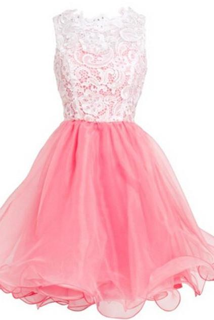 Cute Pink Short Lace Tulle Short Prom Dresses, Pink Homecoming Dresses, Cute Formal Dresses, Mini Dresses