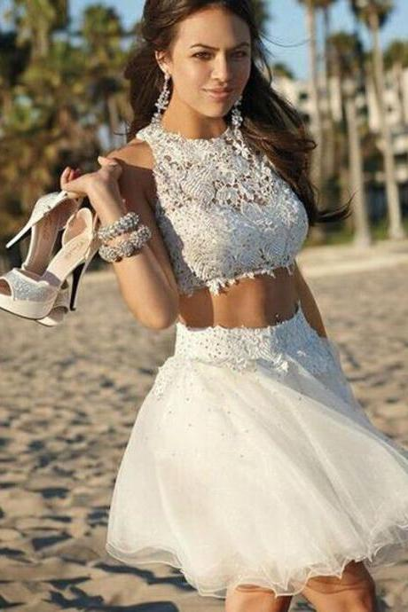 Homecoming Dresses White Sleeveless Tulle Zipper-Up Lace Above Knee Jewels A-Line/Column
