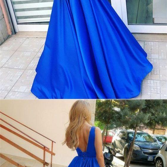 A-Line Deep V-Neck Backless Floor-Length Royal Blue Prom Dress with Pleats