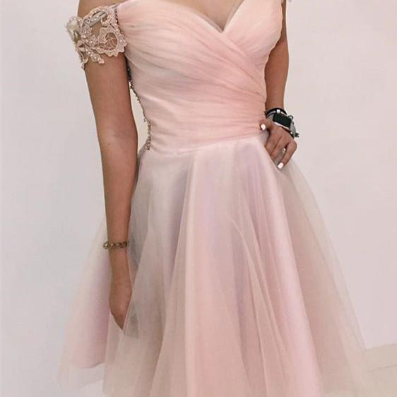 Pearl Light Pink Off Shoulder Knee Length Party Dresses, Homecoming Dresses, Cute Prom Dresses